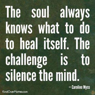 The soul always knows what to do the heal itself. The challenge is to silence the mind
